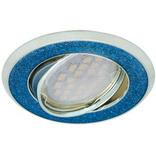 Ecola MR16 DL39 GU5.3 Светильник встр. литой поворотный Круг под стеклом Голубой блеск/Хром 23x88