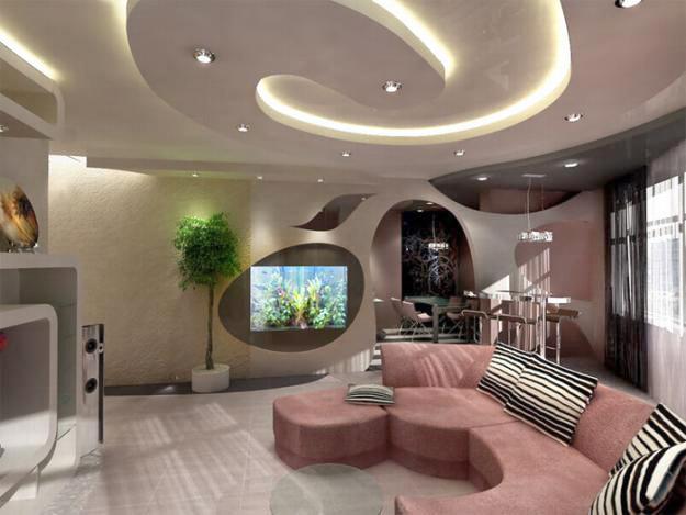 Двухуровневый белый матовый потолок со сложной конфигурацией, светодиодным освещением и установкой точечных светильников Идеальное решение для придания индивидуальности вашей комнате