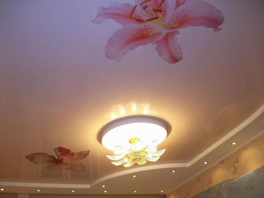 Фотопечать картинки орхидеи в гостиной с встроенной потолочной люстрой