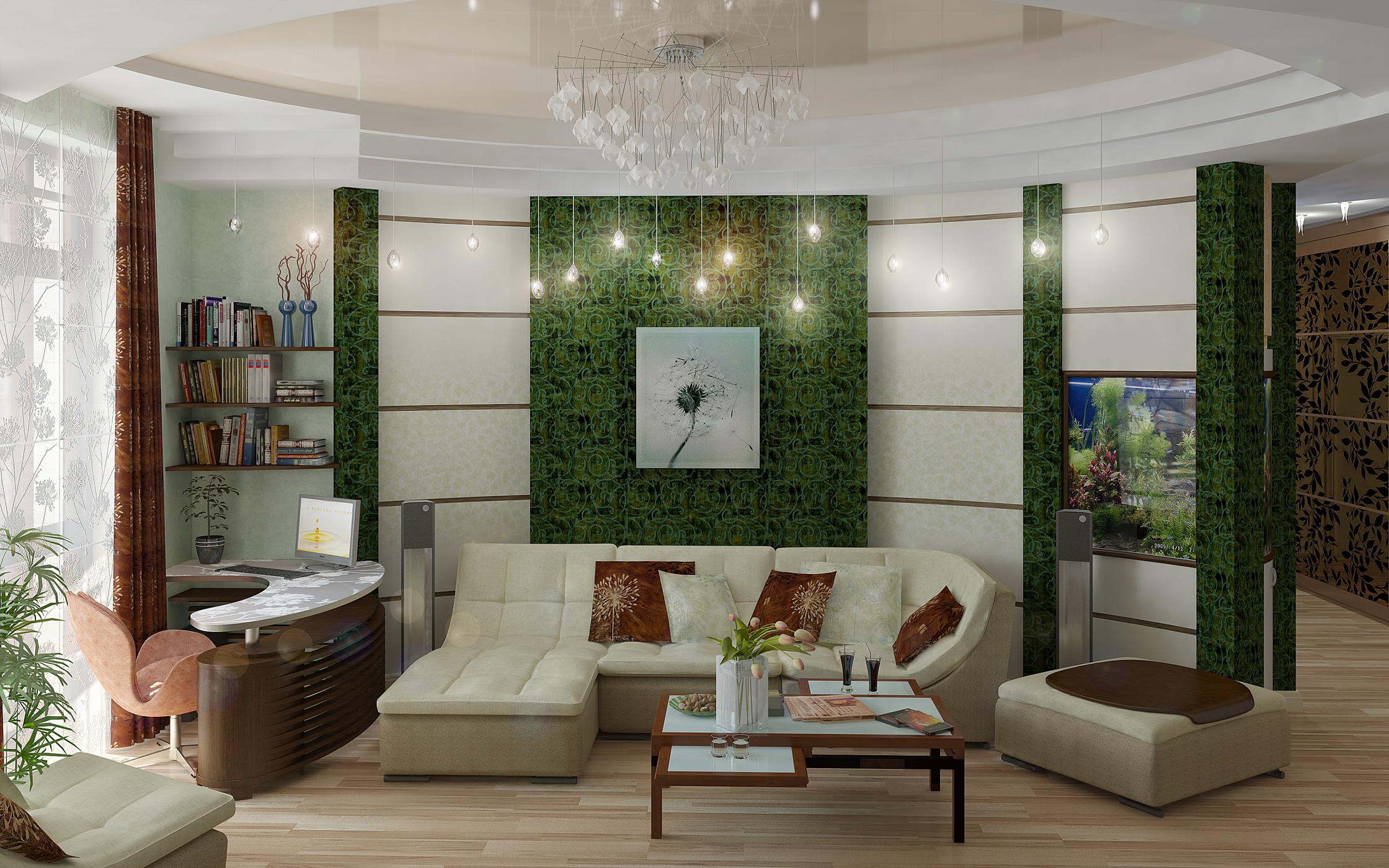 Двухуровневый натяжной потолок, сочетающий в себе два вида полотна: бежевый глянец и белый матовый, с установкой подвесных светильников и потолочной люстры