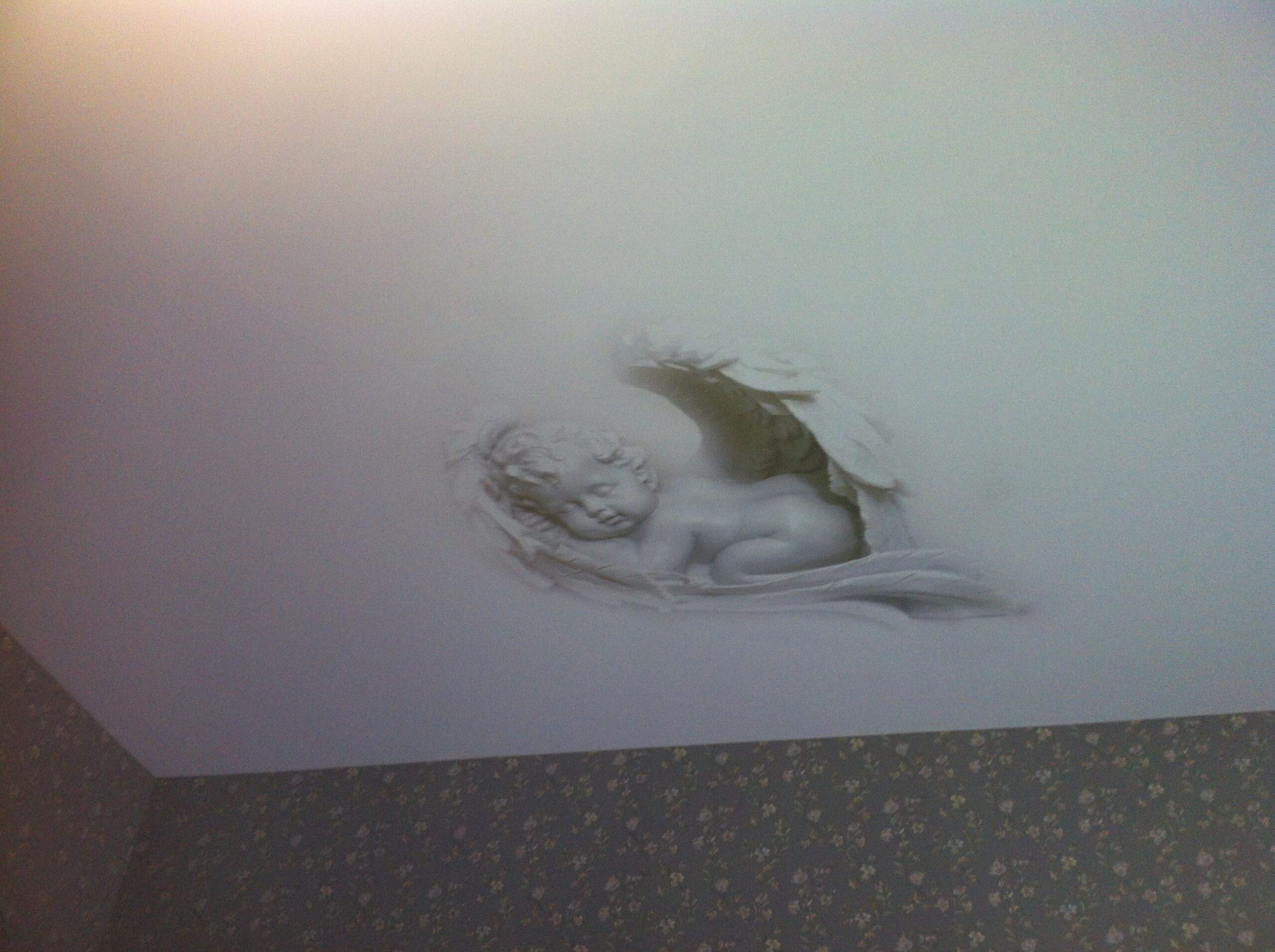 Белый тканевый потолок с нанесением арт-печатиОтличное решение для гостиной