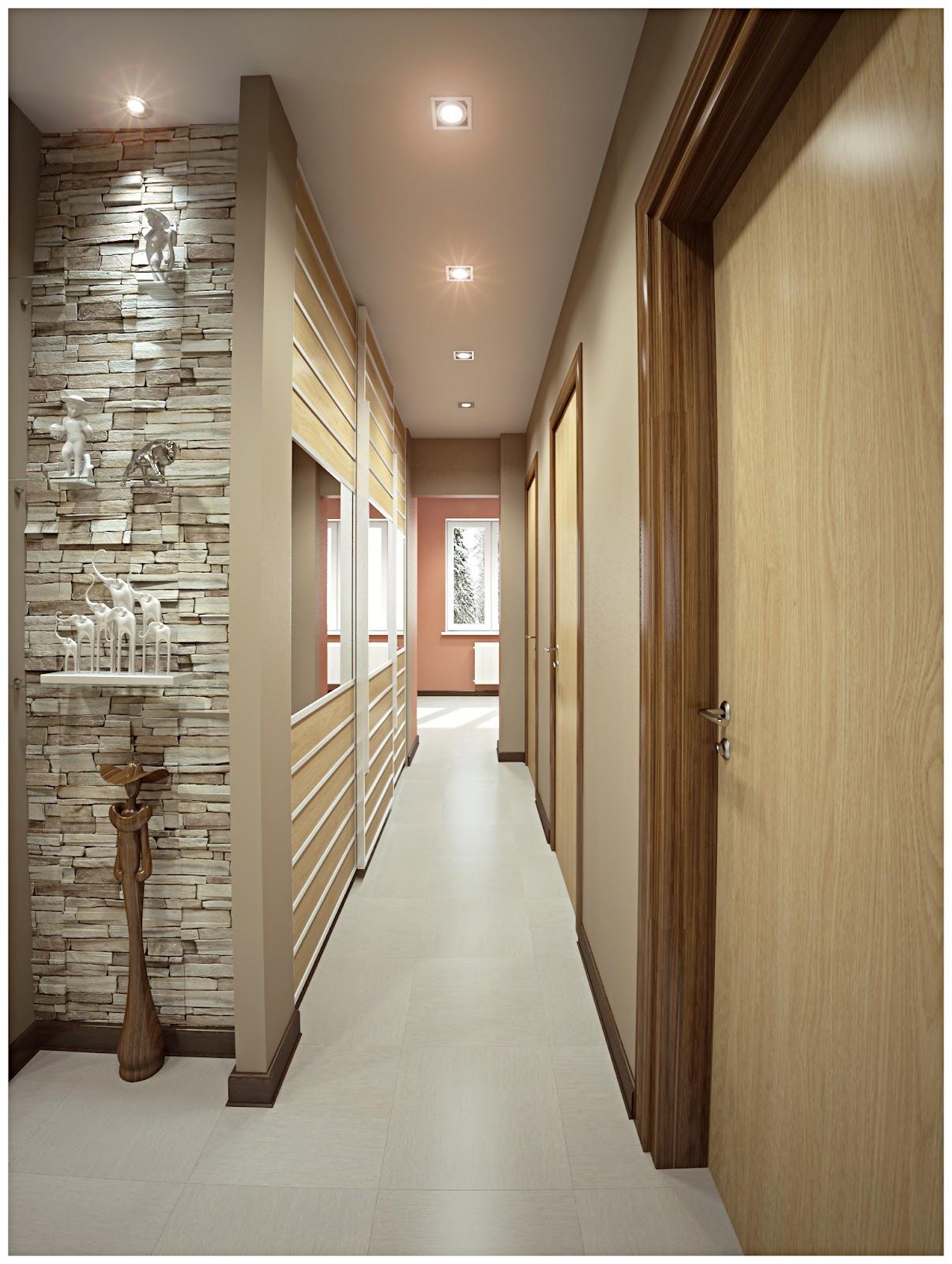 Натяжной белый матовый потолок в коридоре с квадратными светильниками