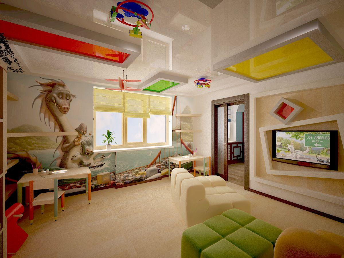 Глянцевый сложный многоуровневый натяжной потолок в детской комнате детского сада в Санкт-петербург