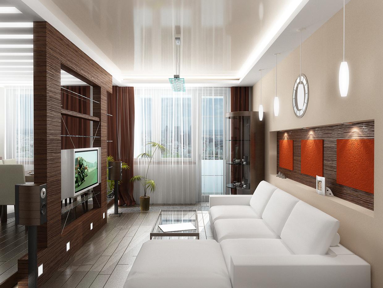 Двухуровненый глянцевый натяжной потолок со светодиодной лентой по периметру люстрой и светильниками