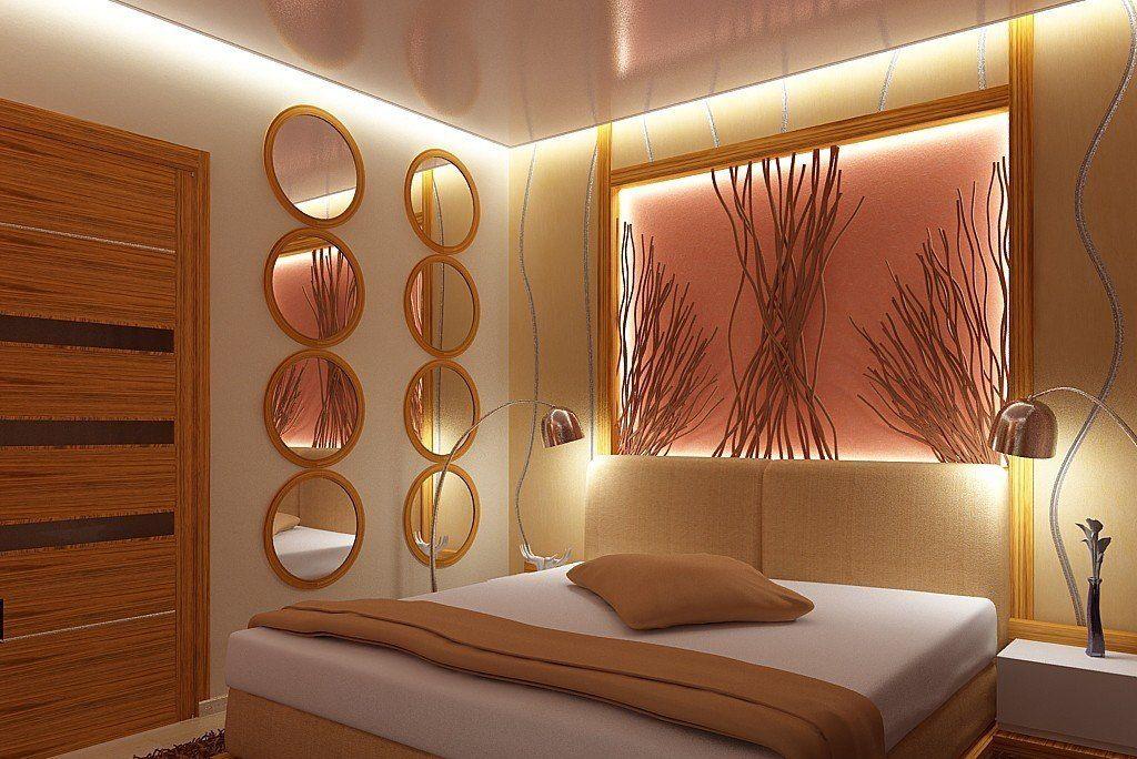 Парящий натяжной потолок в спальне-стильное решение в интерьере