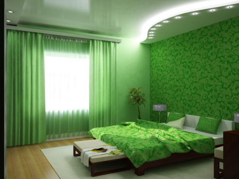 Сочетание белого полотна разных фактур со светодиодной подсветкой и установкой точечных светильников с теплым светом- идеальное решение для уютной атмосферы вашей спальни