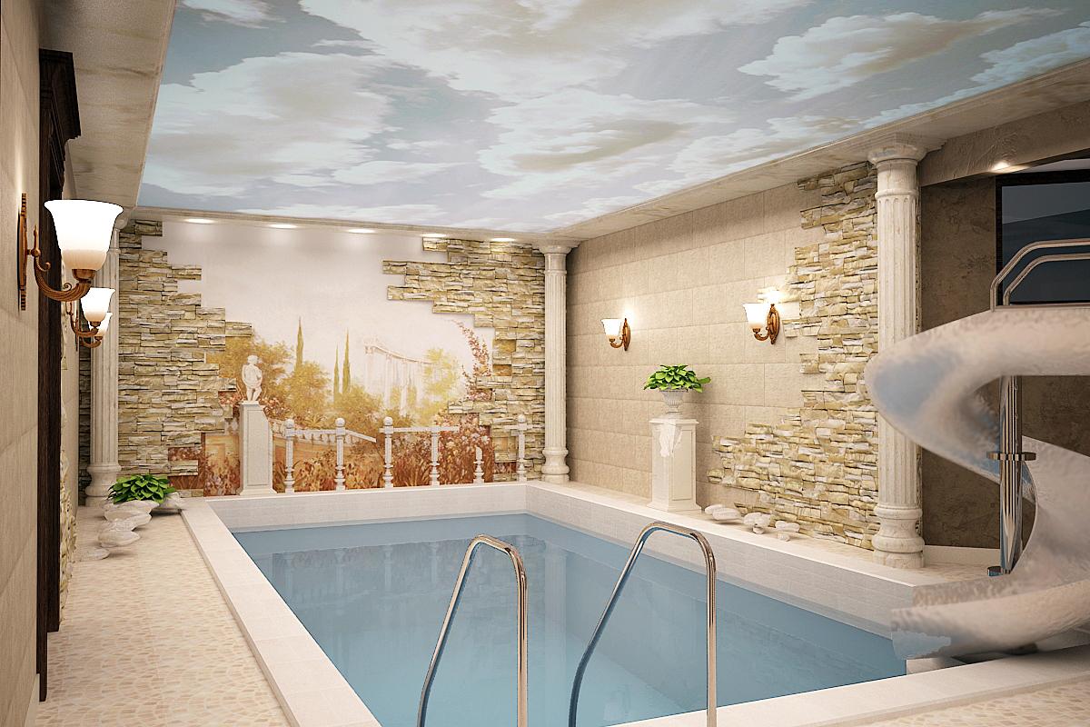 Матовый бесшовный потолок с нанесением фотопечати в бассейне