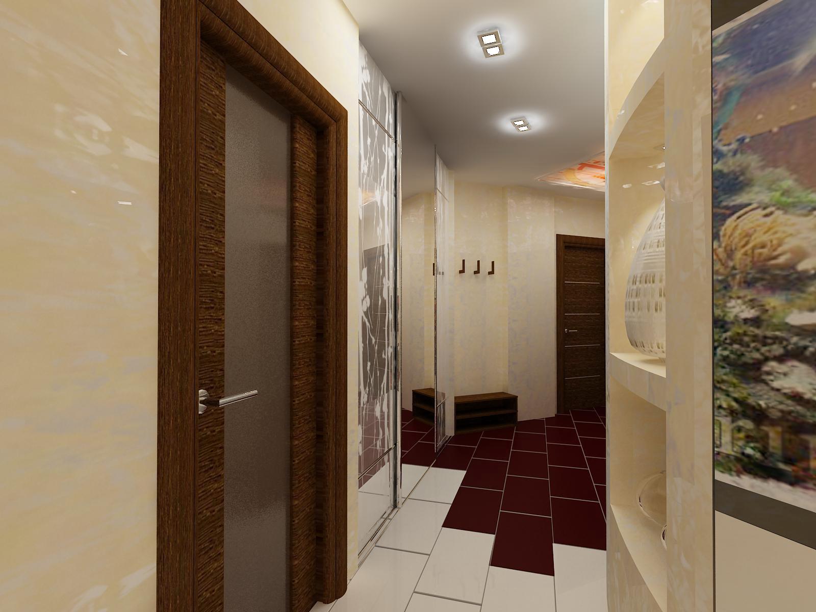 Натяжной белый матовый потолок в коридоре с двойными квадратными светильниками