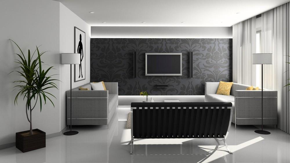 Тканевый потолок отлично подойдет для высоких потолков в зале