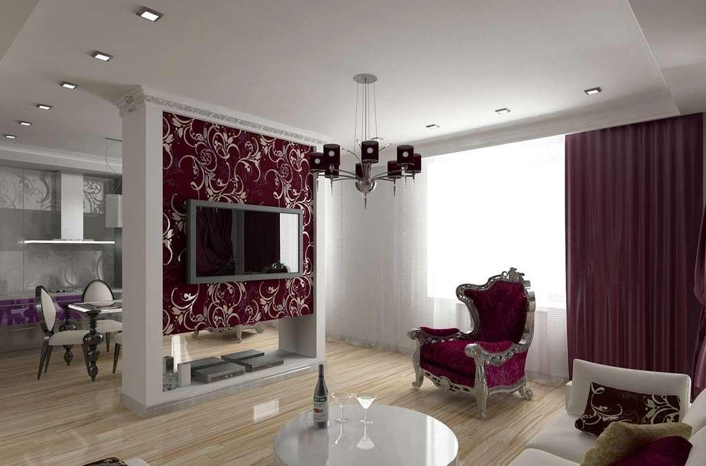 Сатиновый двухуровневый потолок со выстроенными квадратными светильниками скрытым карнизом