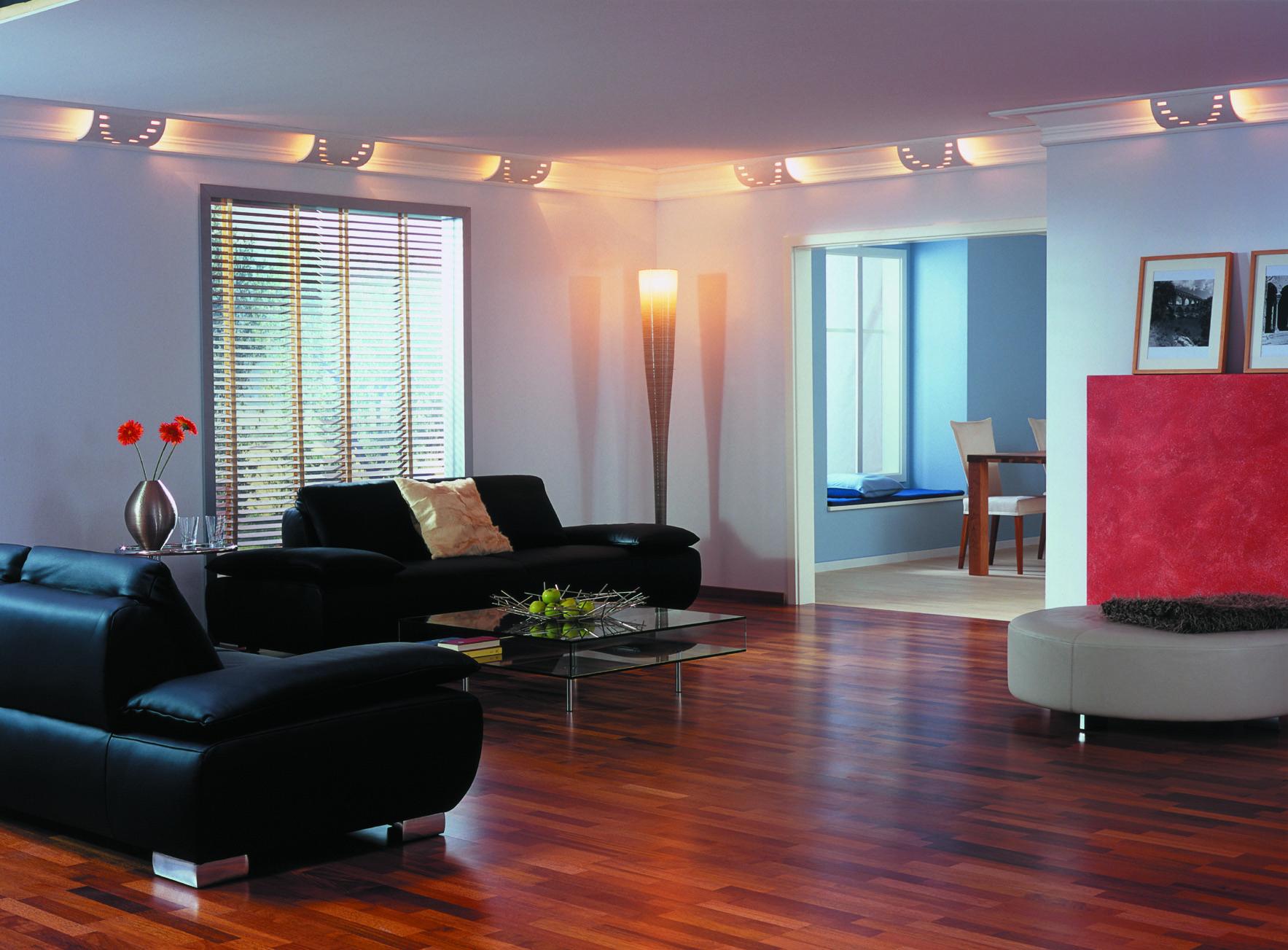 Натяжной тканевый потолок Clipso с дизайнерскими светильниками по периметру