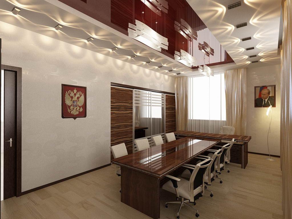 Конструкция и глянцевые полотная-беспроигрышный вариант для приемной в офисе