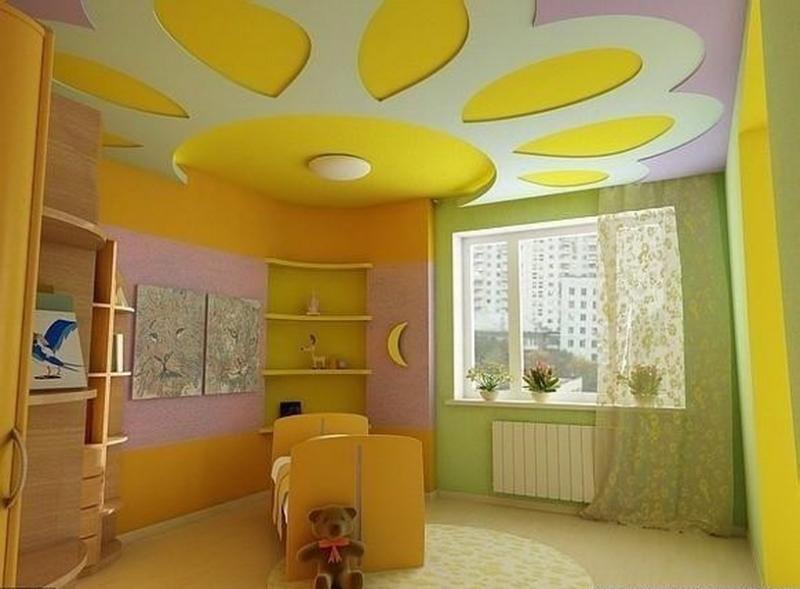 Комбинирование натяжного и гипсокартонного потолка в детской комнате