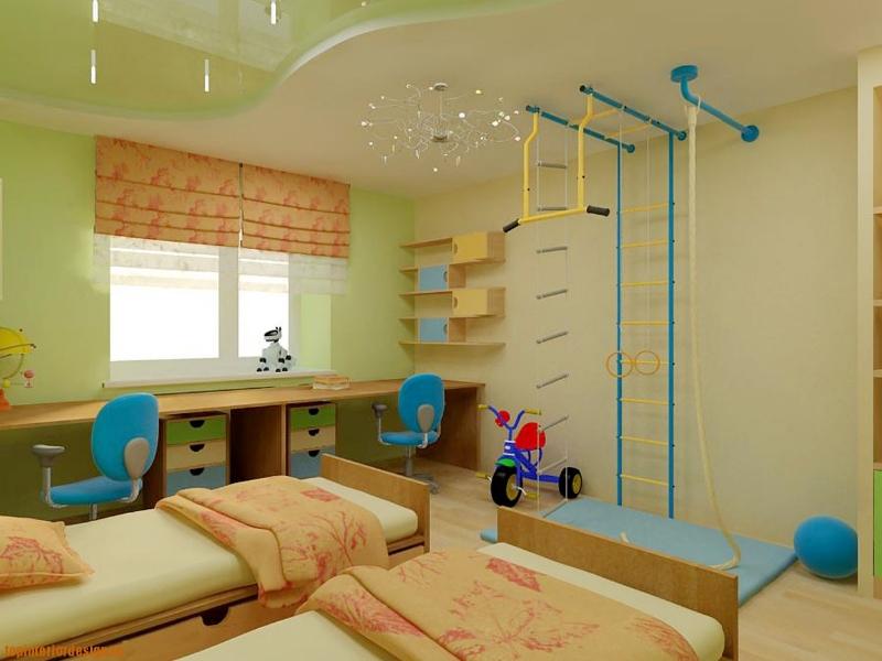 Двух цветный многоуровневый потолок в детской