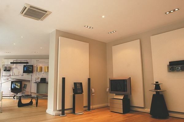 Тканевый бесшовный акустистический потолок для звукозаписывающих студий