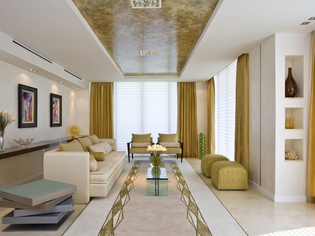 Двухуровневый потолок с фотопечатью под мрамор и встроенными регулируемыми светильниками