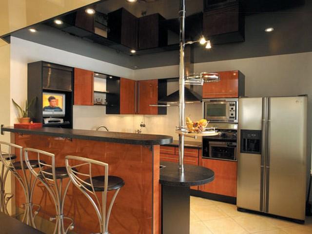 Черный глянец-креативный потолок для кухни, освещение светильники со светодиодными лампами