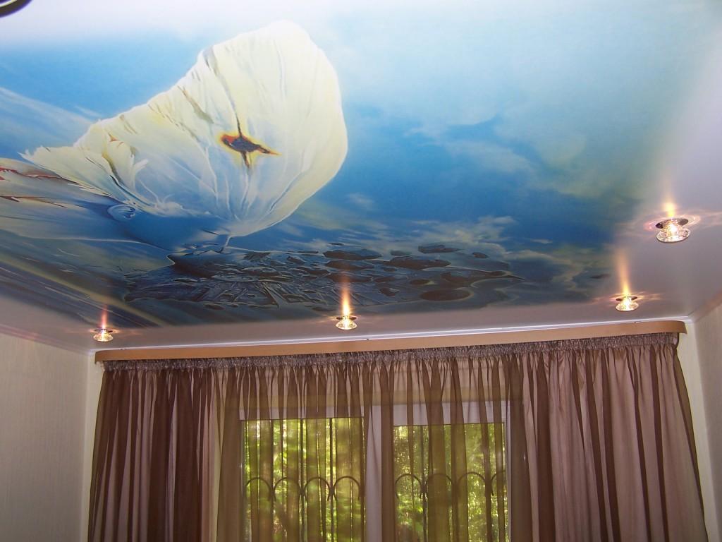 Фотопечать «Фзнтези» на весь потолок для спальной с встроенными светильниками по периметру
