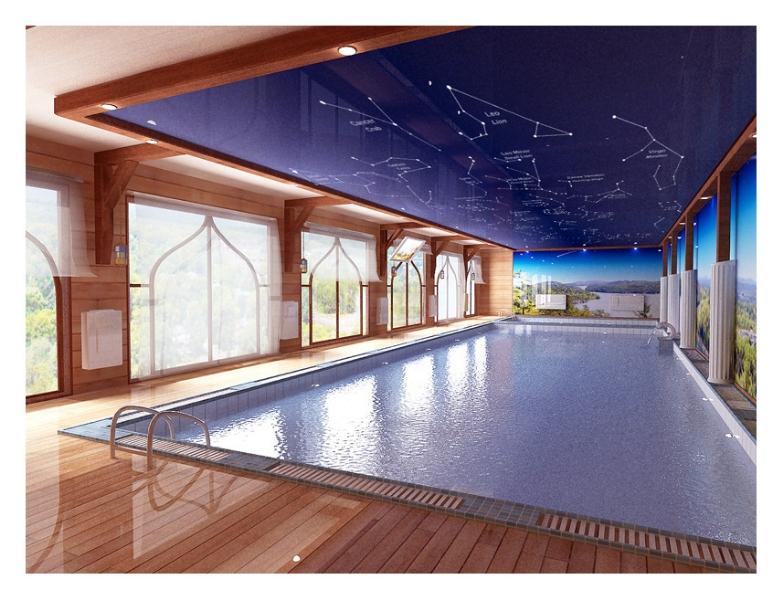 Натяжной цветной глянцевый потолок в бассейне с арт печатью