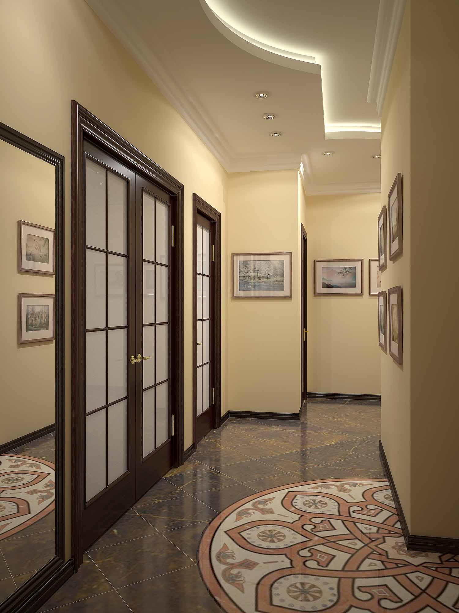 Комбинированный потолок с двухуровневой конструкцией из тканевого потолка Descor и матового белого для коридора