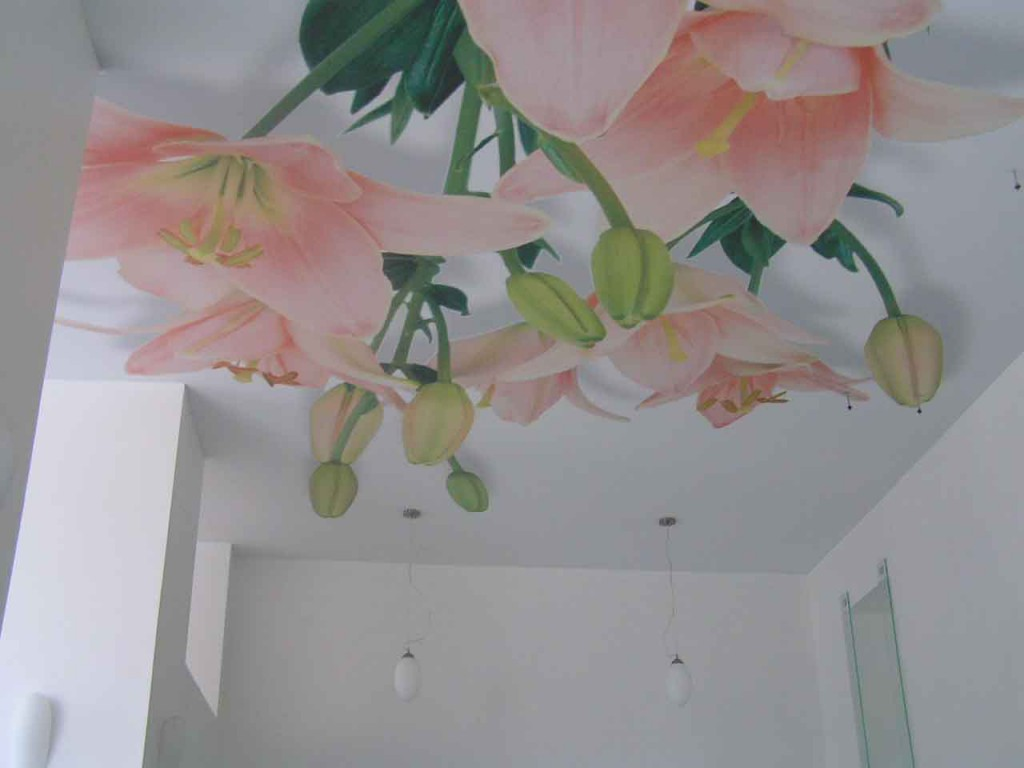 Фотопечать 3D «цветы» с подвесными светильниками