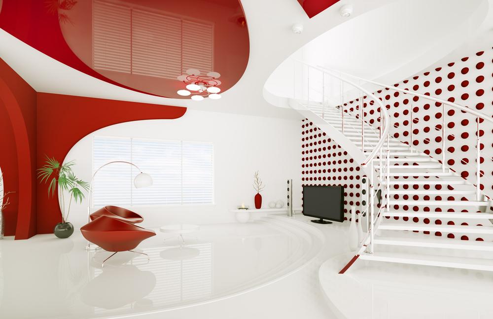 Красный глянцевый потолок со спайкой матовой факутры-экзотический вариант для офисного помещения