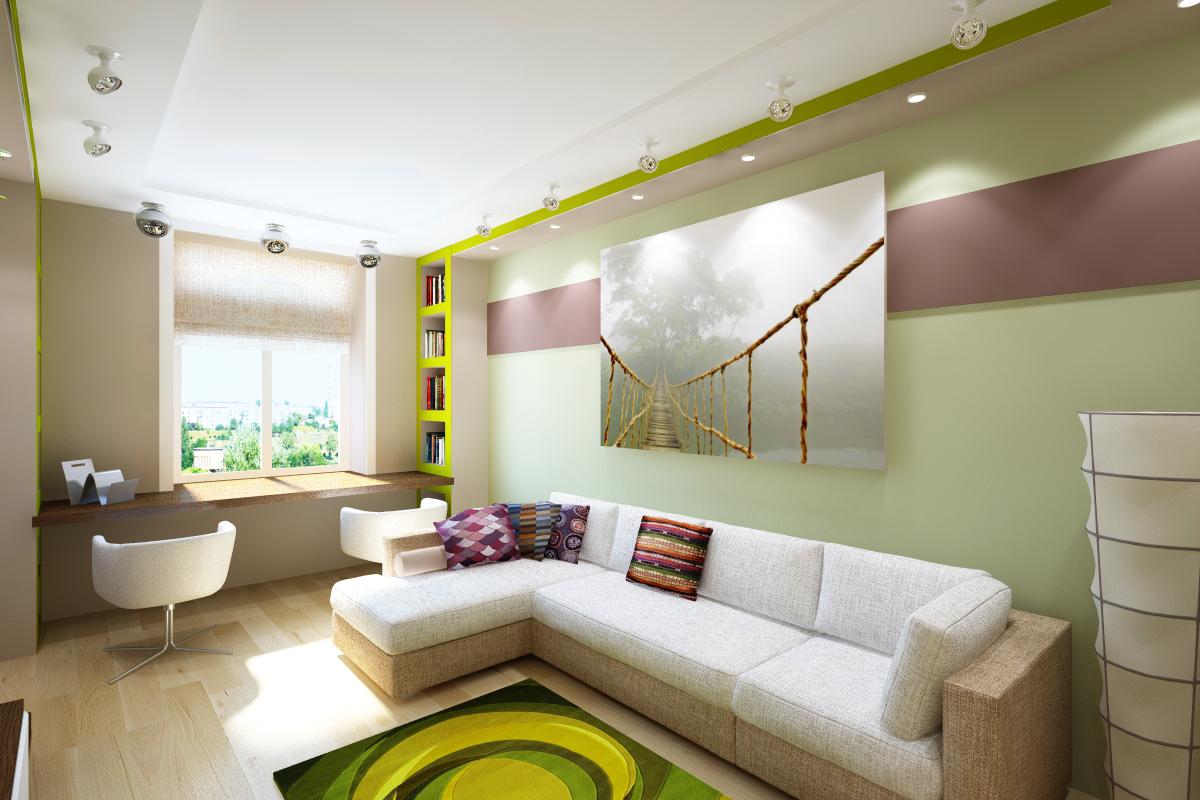 Двухуровневый матовый белый потолок с установкой светильников