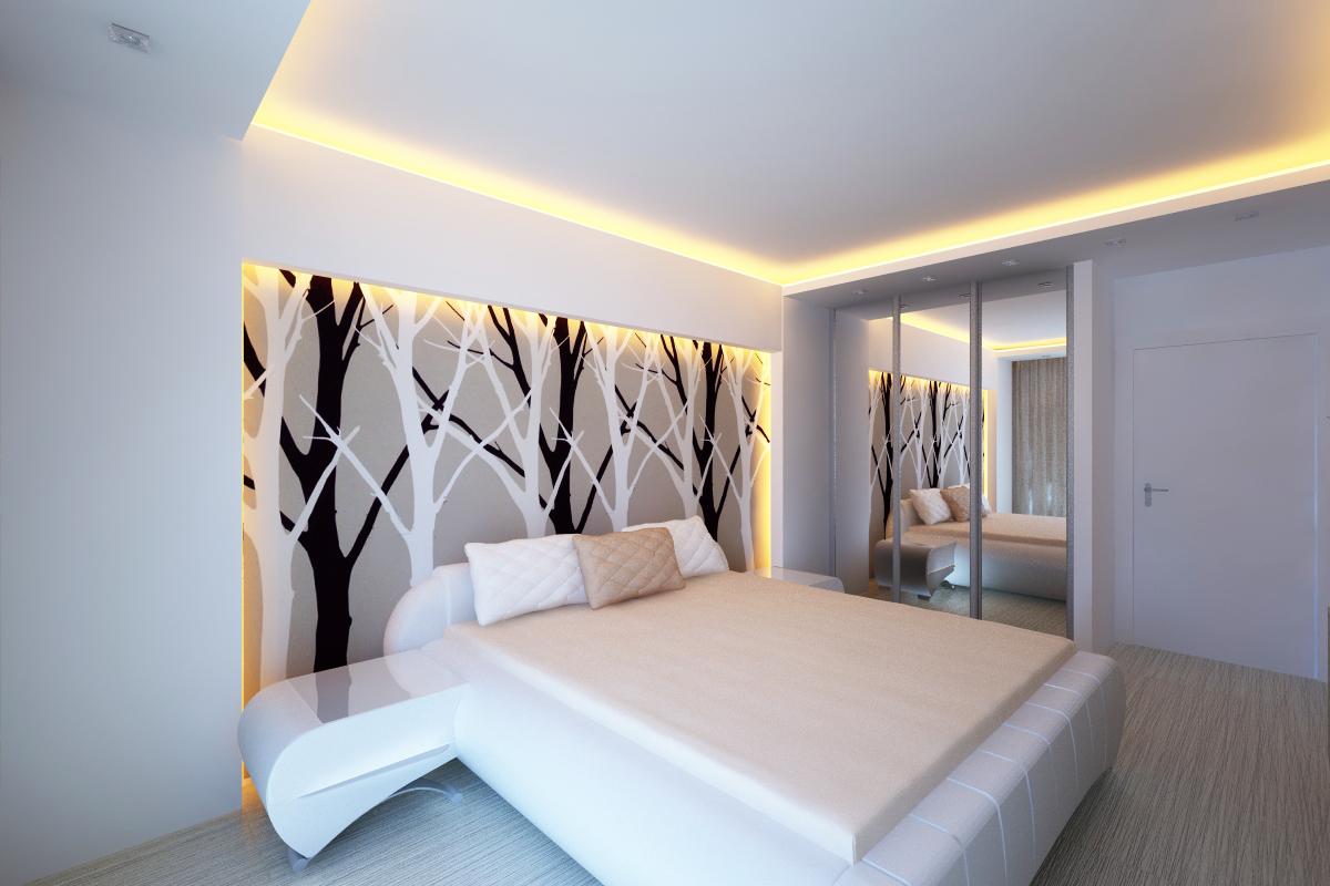 Двухуровневый матовый потолок с теплой светодиодной лентой по периметру