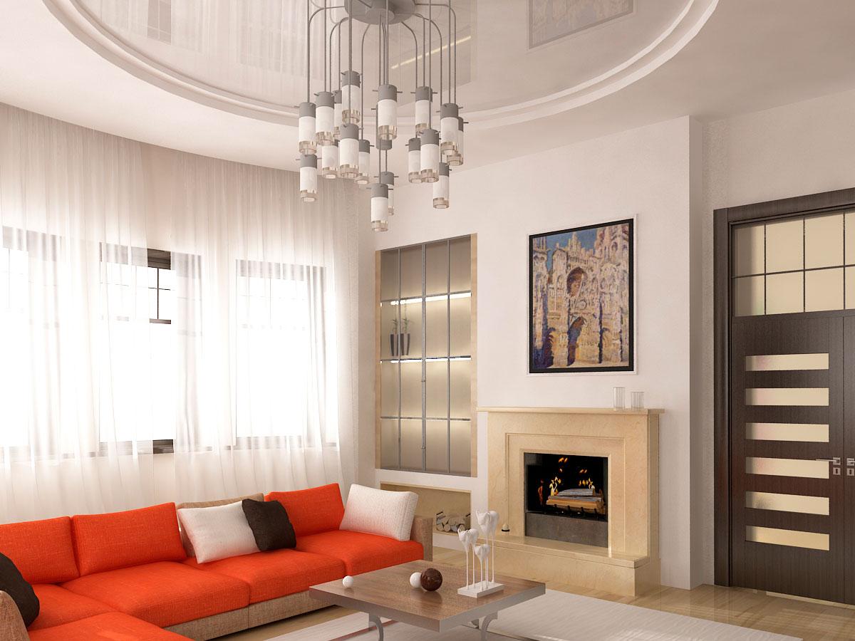 Двухуровневый белый потолок разных фактур с установкой потолочной люстры