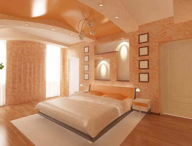 Двухуровневый натяжной потолок разных фактур и цветов с установкой точечных светильников- стиль, красота и индивидуальность вашей спальной комнаты
