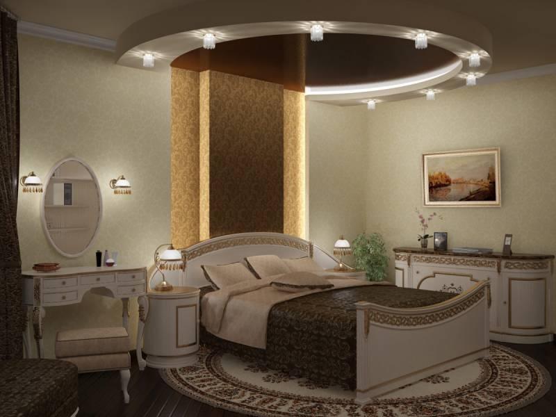 Величественность и элегантность подарит вашей спальне двухуровневый натяжной потолок со светодиодной подсветкой и установкой светильников