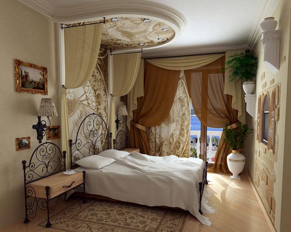 Французский натяжной потолок с фотопечатью в очень красивой спальне