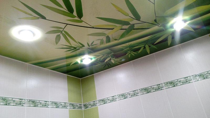 Фотопечать под бамбук в ванной по ул. Долгоозерная в Санкт-Петербурге