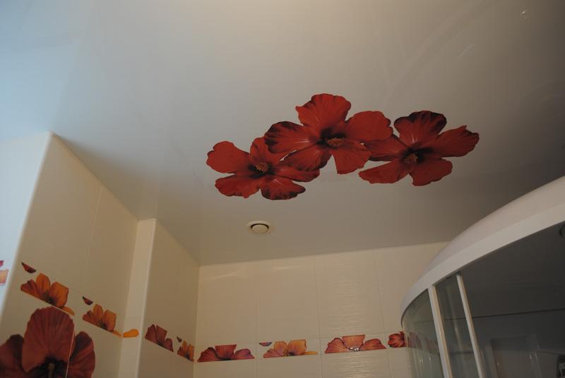 Фотопечать в виде цветов в санузле частной квартиры