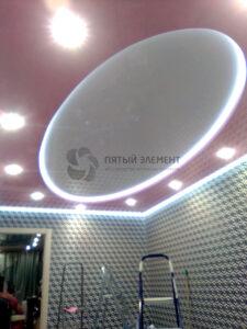 Двухуровневый потолок с подсветкой периметра и перехода уровня