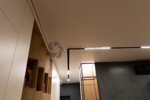 белый матовый теневой потолок в гостиной с треками